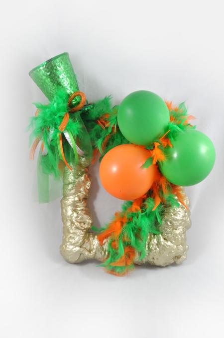 Wandecoratie Carnaval Groen-oranje met hoed