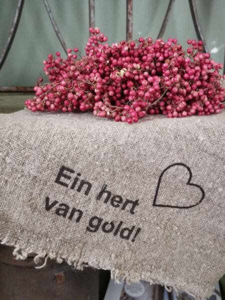 Shabby doek 'Ein hert van Gold'