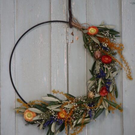 Droogbloemen Krans Oranje