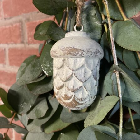 Hang Ornament eikel wit