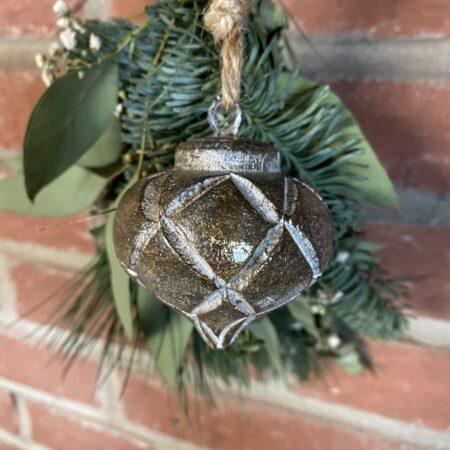 Houten Ornament Ruit patroon Goud (klein)