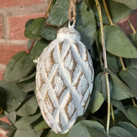 Hang Ornament Dennenappel wit