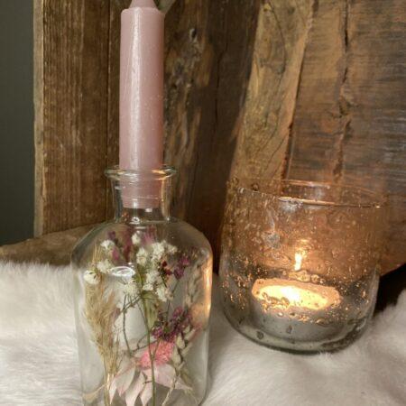 Flesje droogbloemen met kaars #31
