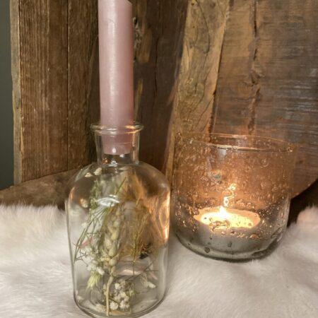 Flesje droogbloemen met kaars #32