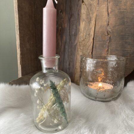 Flesje droogbloemen met kaars #47